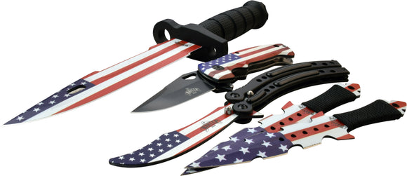 Masters USA MU-FLAGSET Combo Knife Set