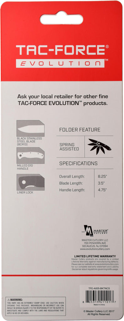 Tac-Force Evolution TFE-A005-BKTN Spring Assisted Knife