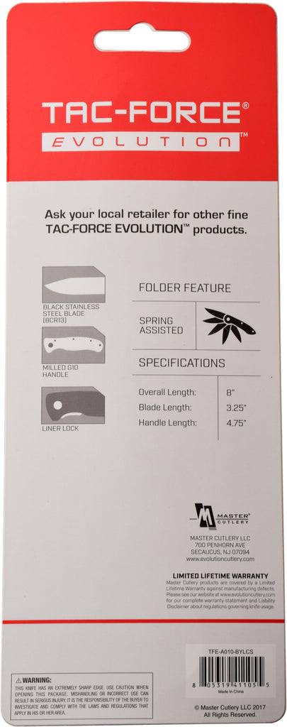 Tac-Force Evolution TFE-A010-BYL Spring Assisted Knife