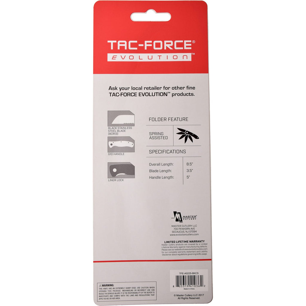 Tac-Force Evolution TFE-A022S-BK Spring Assisted Knife