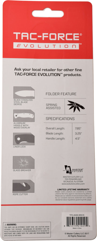 Tac-Force Evolution TFE-A026-WD Spring Assisted Knife