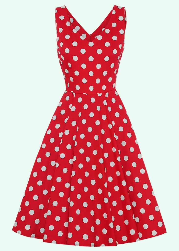 1950s swing dress in red with white polka dots toej Mondo Kaos