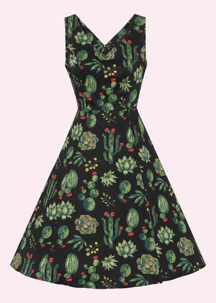 1950s swing dress in black with cactus print
