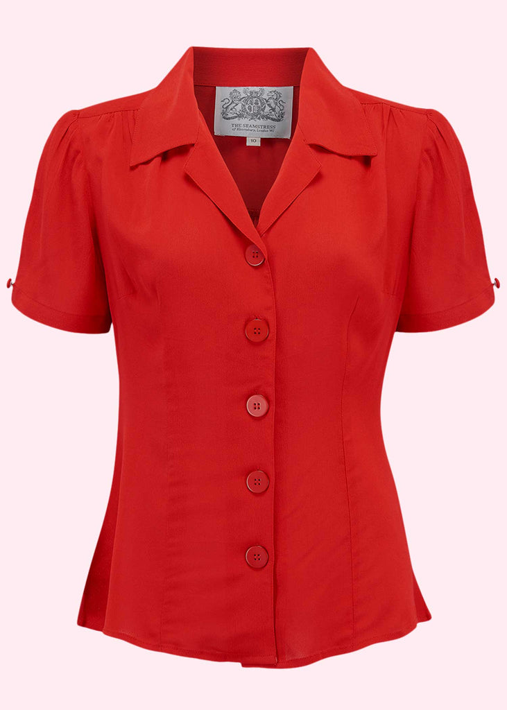 Bloomsbury: Grace short-sleeved shirt in red