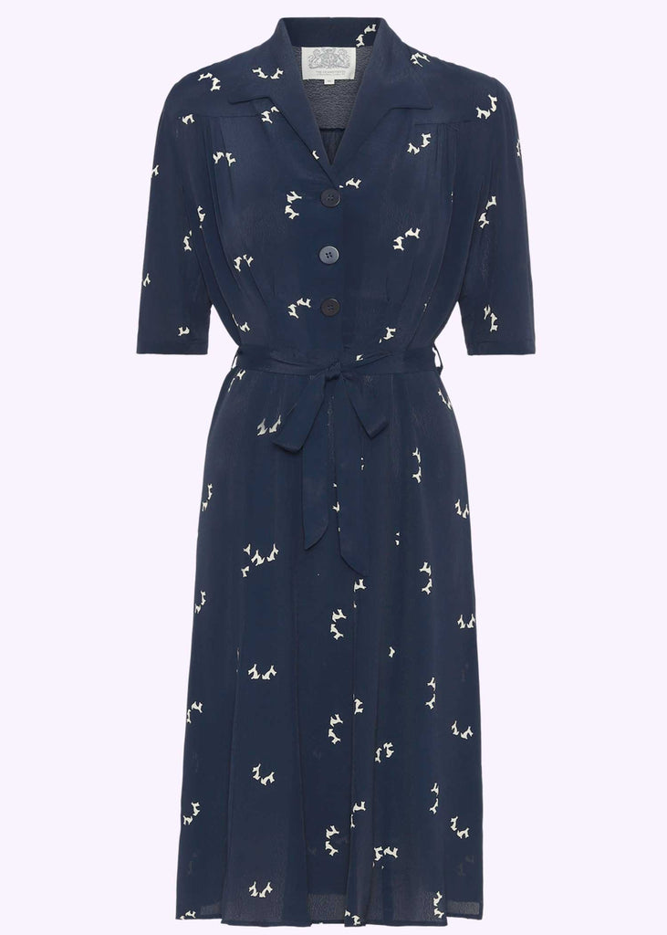 Bloomsbury: Pip shirt dress in 1940s style in navy with dog print clothes Mondo Kaos