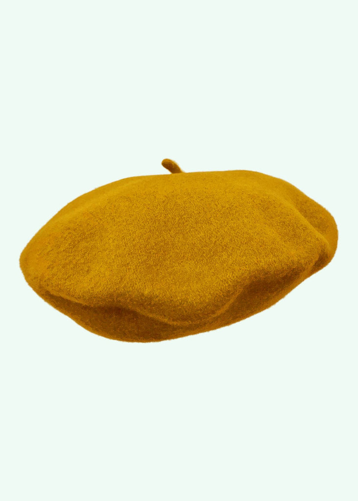 Diefenthal 1905: Classic beret in wool in mustard