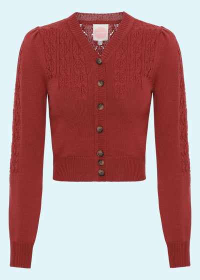 Emmy Design: Peggy Sue Cardigan i karmoisin rød 'brick red' toej mondokaos