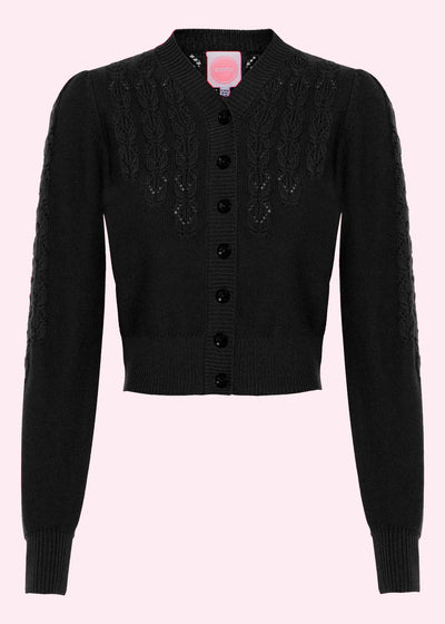 Emmy Design: Peggy Sue Cardigan i sort toej mondokaos