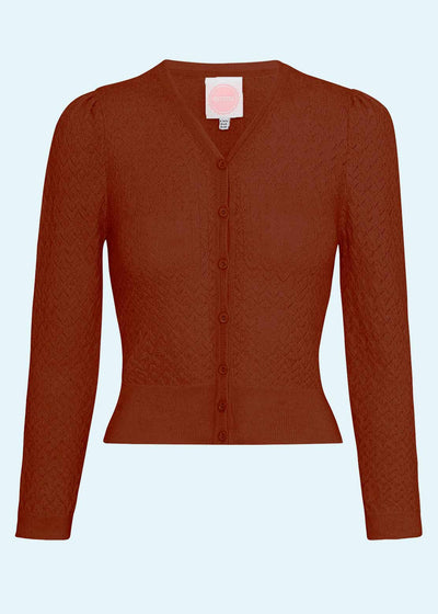 Emmy Design: The Delightful Daytime cardigan i rust toej Mondo Kaos