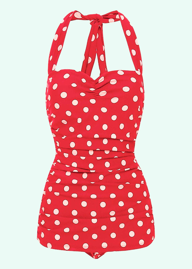 Esther Williams: Red 50s swimsuit with white dots Mondo Kaos