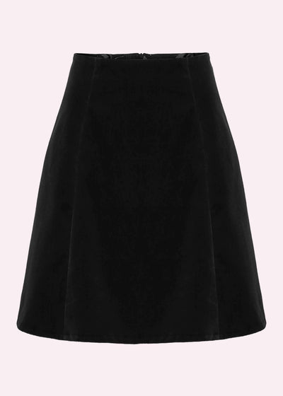 Grünten Mode: 1960'er A-line mini skirt i sort velour toej Mondo Kaos