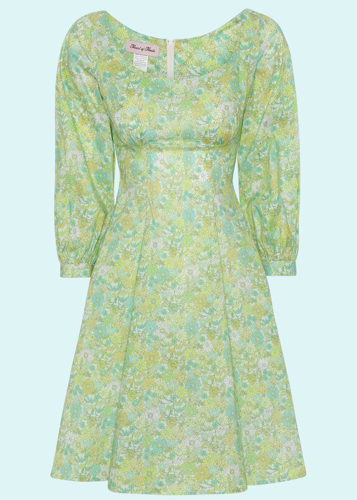 Heart of Haute: Jenni A-line dress with long sleeves in floral floral print