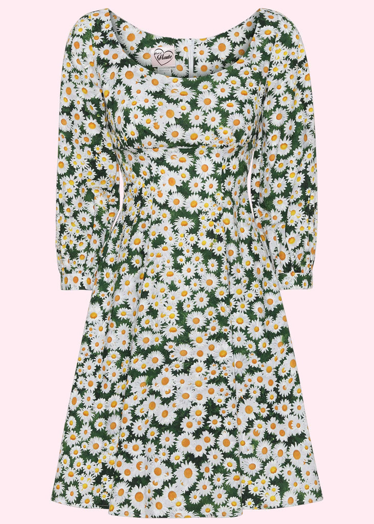 Heart of Haute: Jenni A-line dress with long sleeves in daisy print