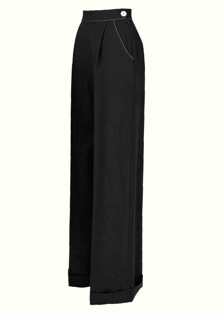House Of Foxy: High-waisted trousers with wide legs in black toe Mondo Kaos