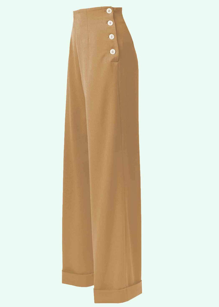 House of Foxy: High-waisted swing pants with wide legs in light brown toe Mondo Kaos