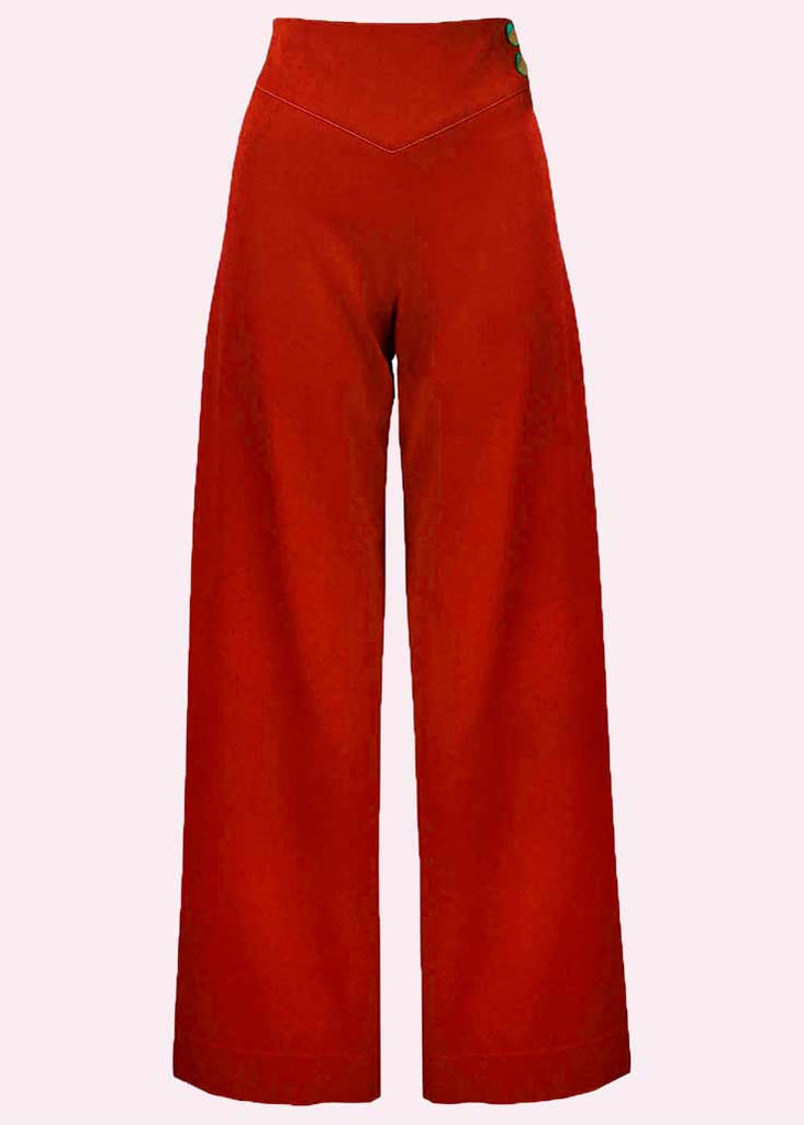 House Of Foxy: Riviera high-waisted trousers with wide legs in red toe Mondo Kaos