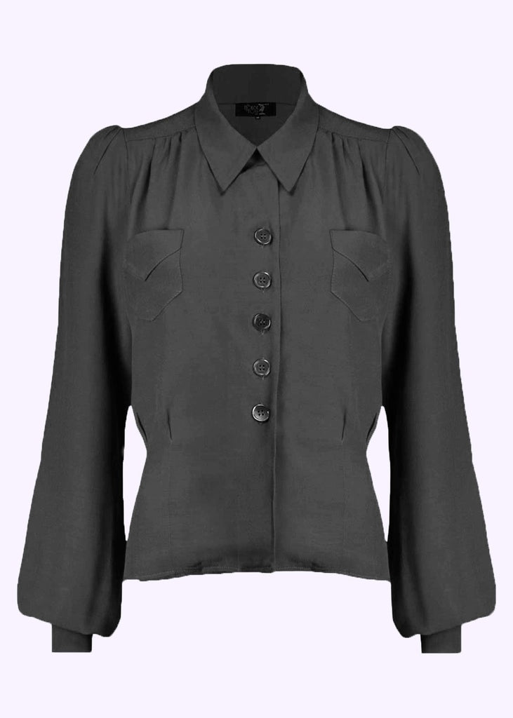 House of Foxy: Sweetheart vintage style shirt blouse in black
