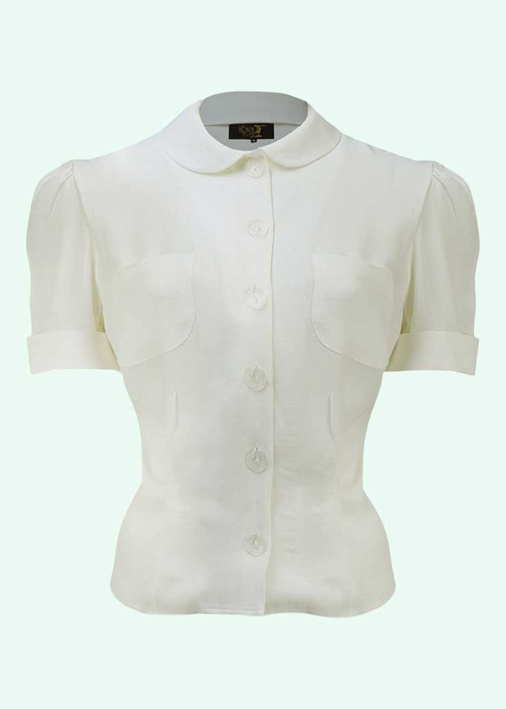 House of Foxy: Wallis short-sleeved shirt in off-white