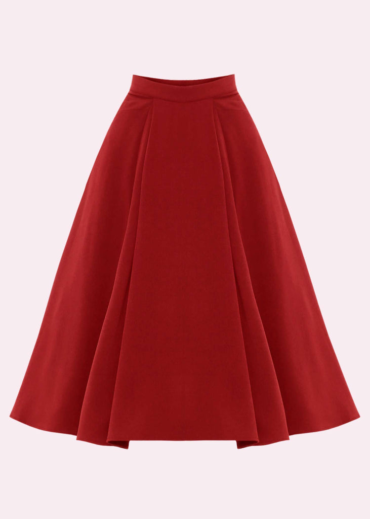 Miss Candyfloss: High-waisted swing skirt in red