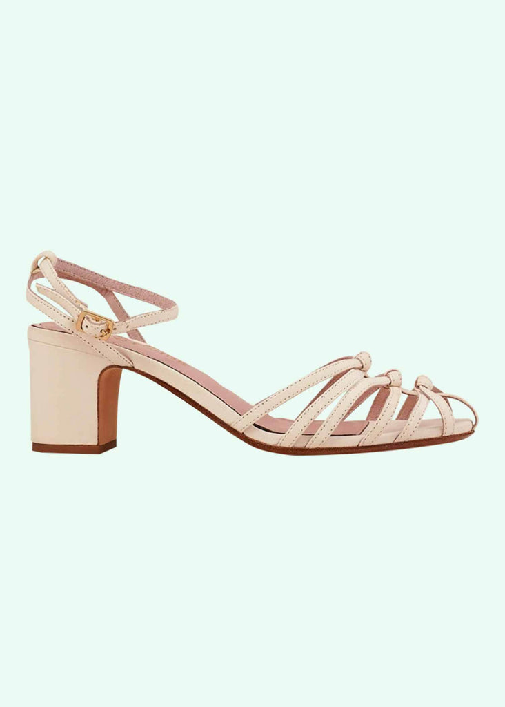 Miss L Fire: Lois cream colored sandal with ankle strap shoes Mondo Kaos