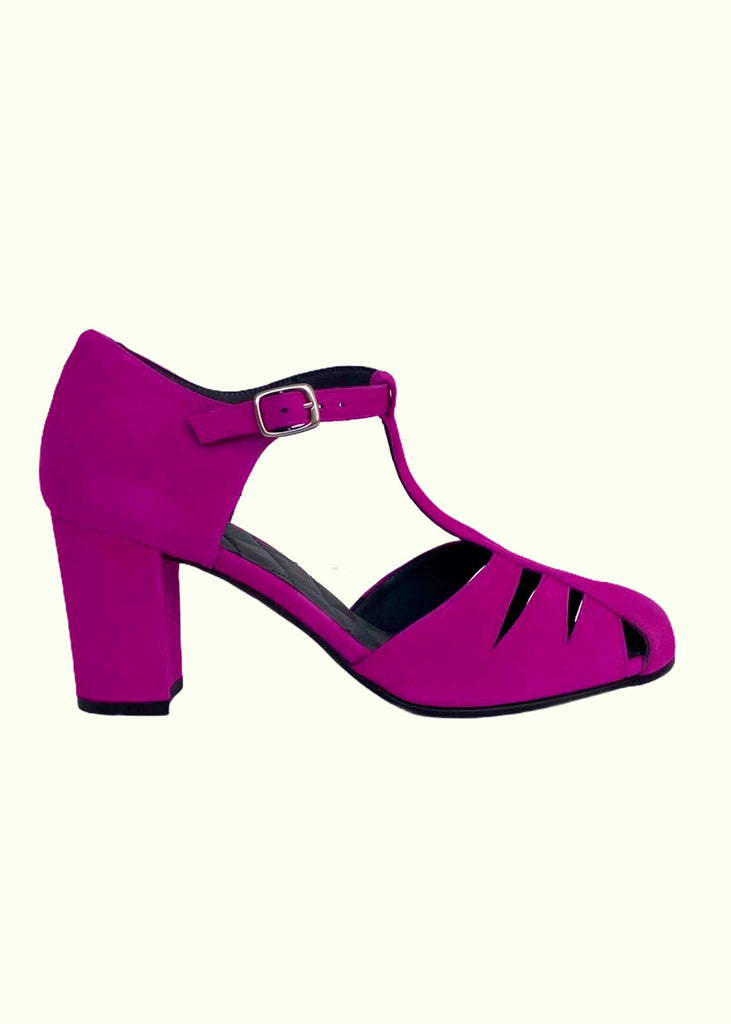 Nordic ShoePeople: Liva T-strap shoes in purple suede with a hole pattern
