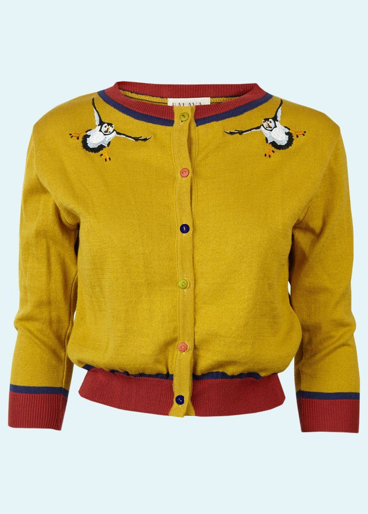 Palava: Cardigan with puffin embroidery in mustard-colored toe Mondo Kaos