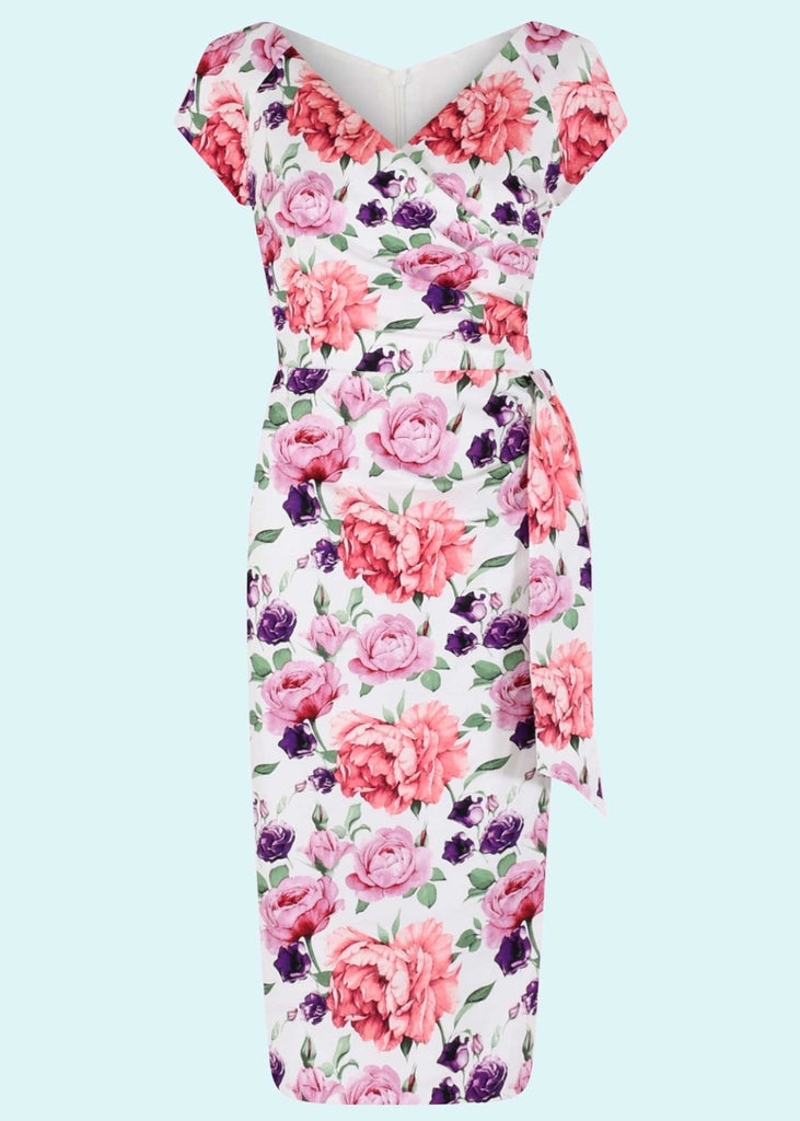 Pretty Dress Company: Hourglass pencil dress in white with roses