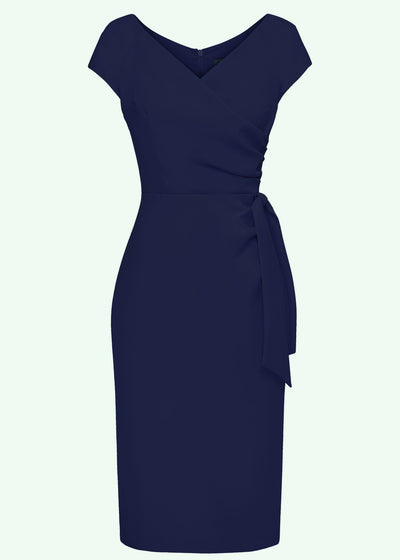 Pretty Dress Company: Hourglass pencilkjole i navy med faux wrap toej Mondo Kaos