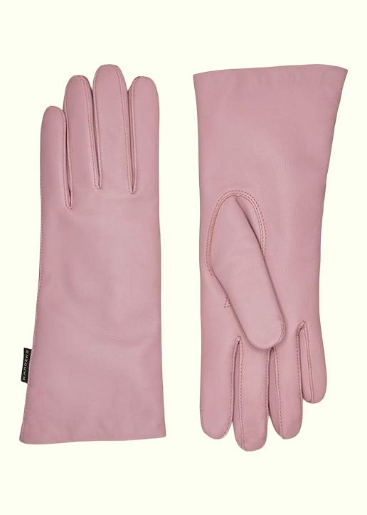 Rhanders Gloves: Leather gloves in blush with wool lining
