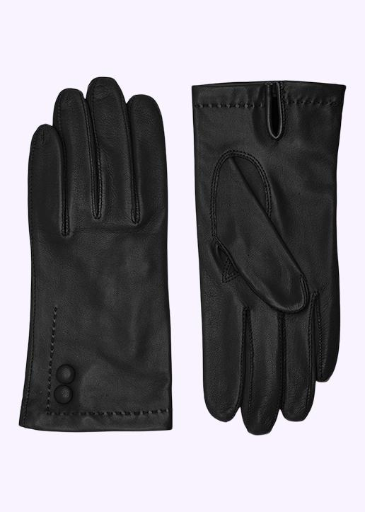 Rhanders Gloves: Leather gloves in black with buttons