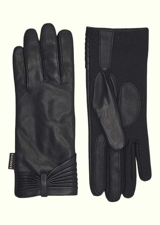 Rhanders Gloves: Leather gloves in black with bow pleats and lycra