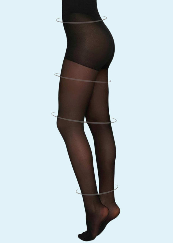 Swedish Stockings: Irma support tights 30denier i sort toej Mondo Kaos