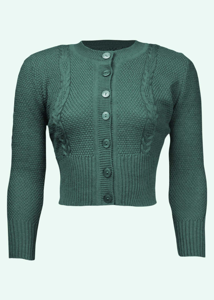 The House of Foxy: Vintage style cardigan with twists in green
