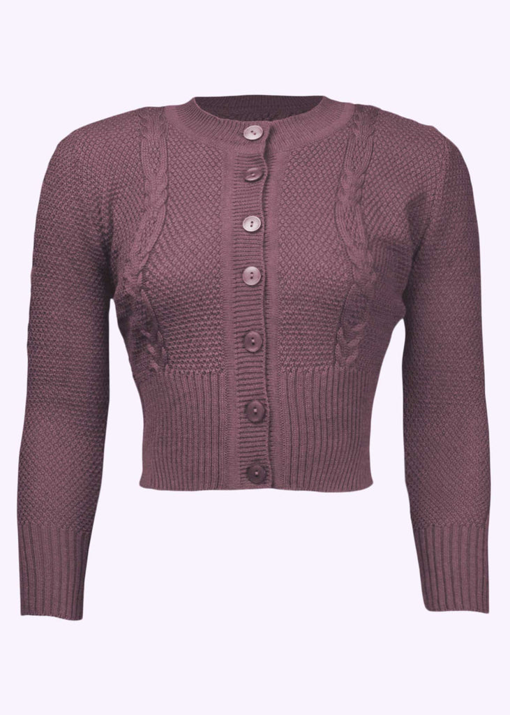 The House of Foxy: Vintage style cardigan with twists in dusty purple