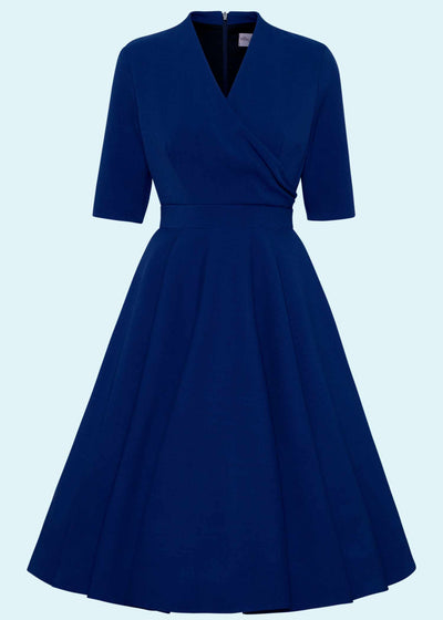 The Pretty Dress Company: Leyla swing kjole med faux wrap i navy tøj Mondo Kaos