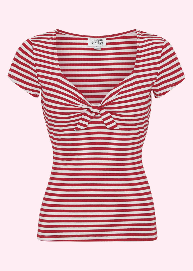 Unique Vintage: Striped top in red and white with sweetheart neckline