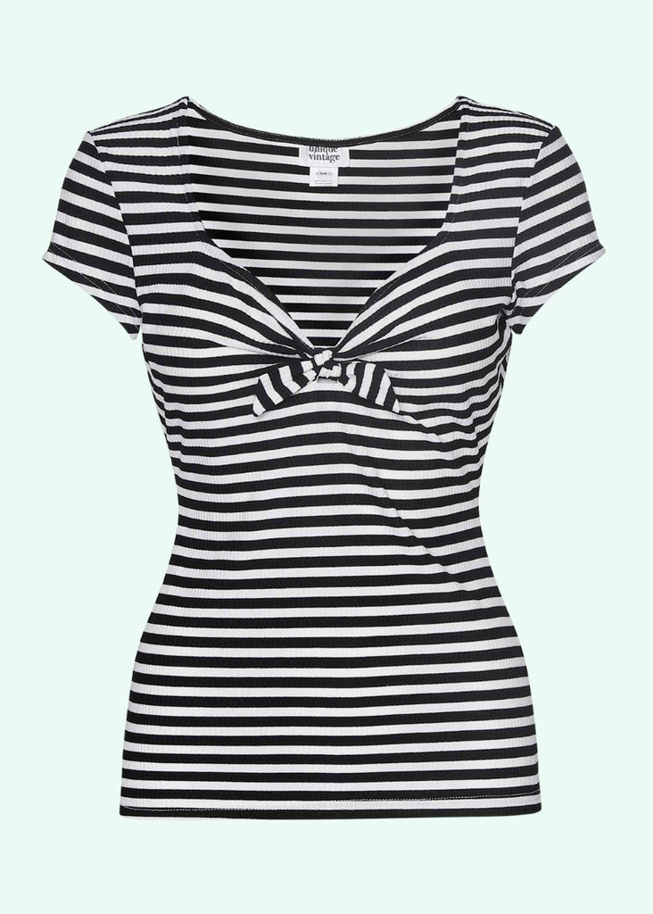 Unique Vintage: Striped top in black and white with sweetheart neckline toej Mondo Kaos