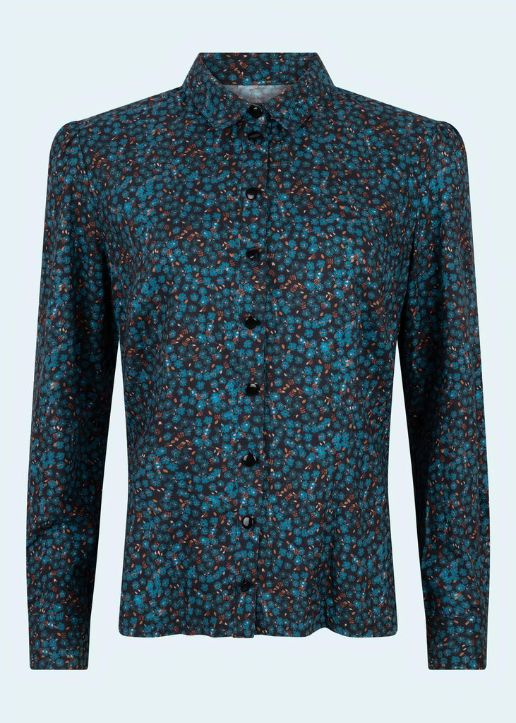Very Cherry: Jane shirt with teal colored flowers