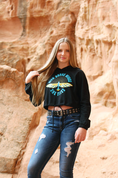 With Brave Wings She Flies™ Teen Hoodie