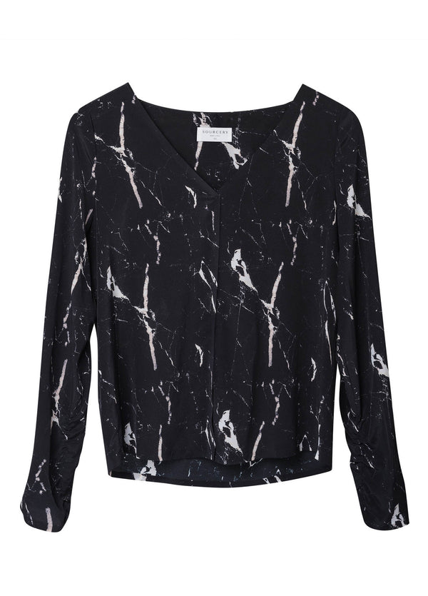 ELLIOT SILK BLOUSE - Black Marble