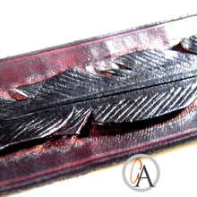 Carved Leather Feather Bracelet Personally Singed by Artist!