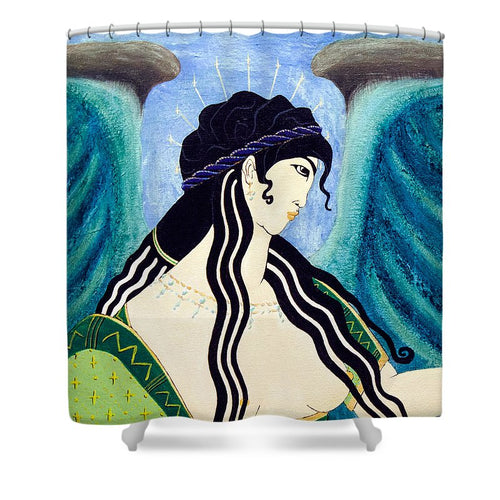 Minoan Blue Angel - Shower Curtain
