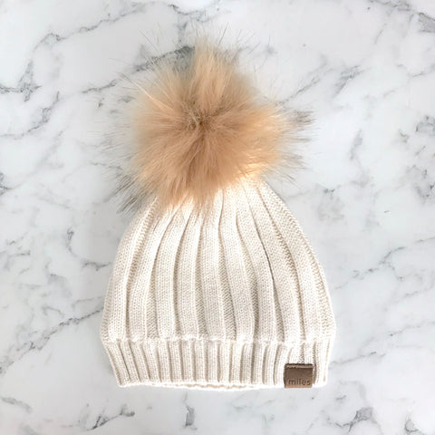 Heather Beige PomPom Hat