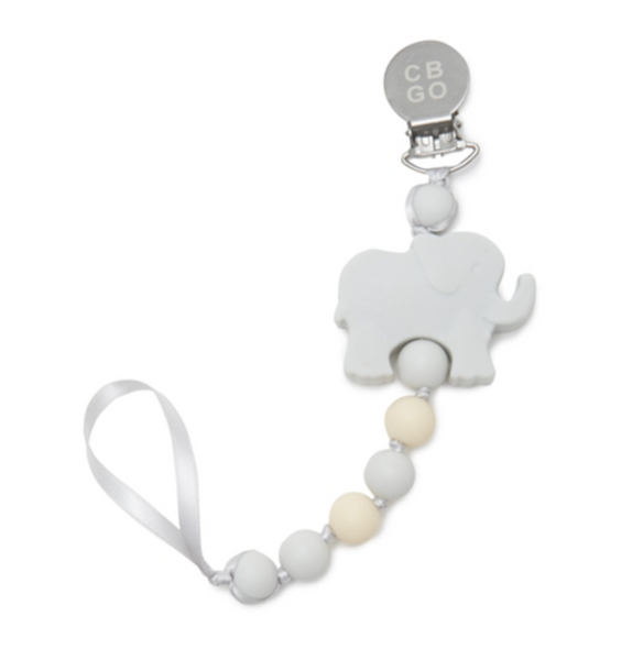 Light Grey Elephant Pacifier Clip