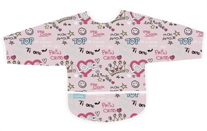 Pink Love Graffiti Sleeves Bib