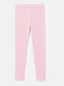 Pink Stripe Cotton Ribbed Leggings