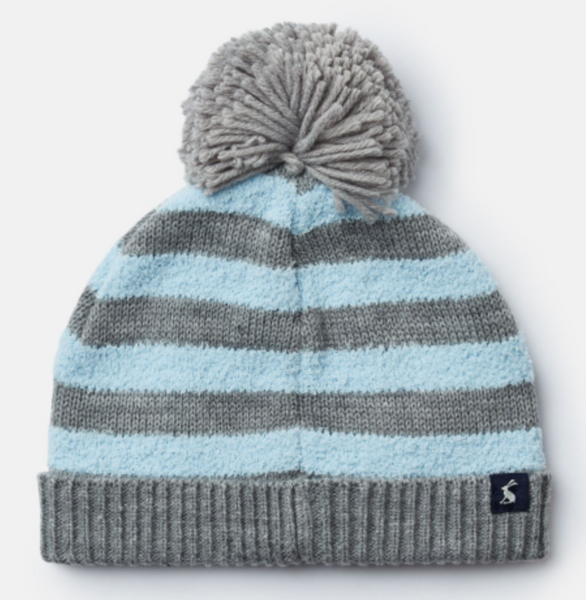 Grey/Blue Stripe Bobble Hat