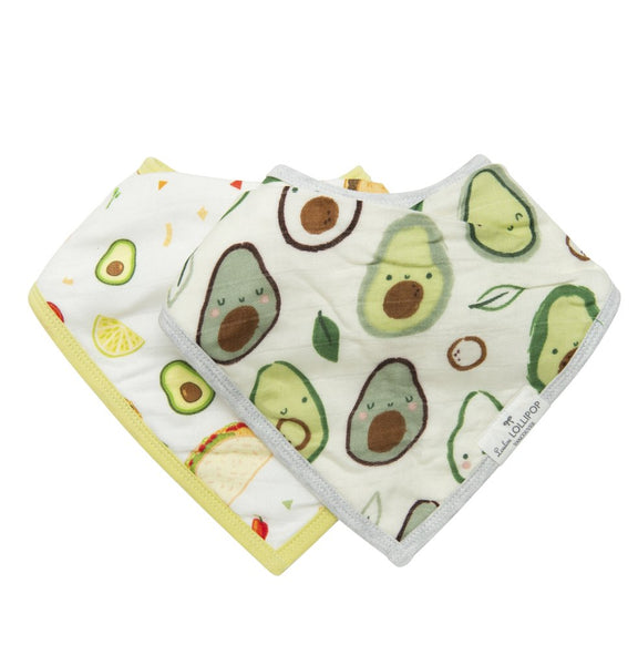 Avocado Muslin Bandana Bib Set