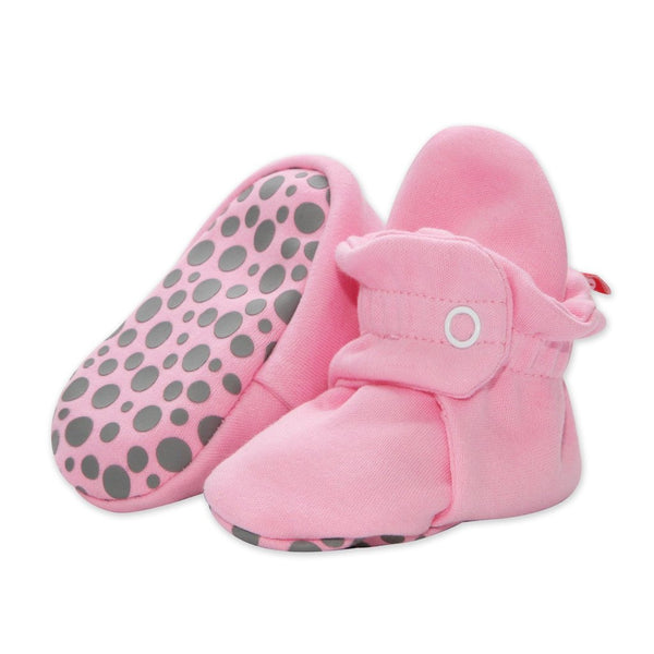 Baby Pink Cotton Gripper Bootie