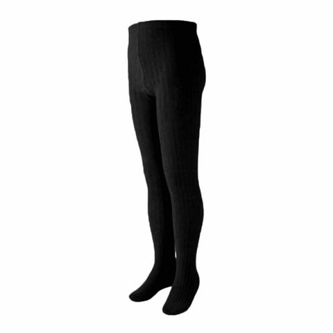 Black Ribbed Cotton Tights
